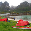 This is camp 3, a few miles past Digermulen.  We ended up spending 3 nights here because high winds and waves beyond the sheltered beach area made it too risky to do the next crossing.