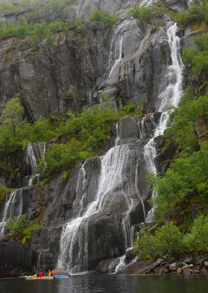 There are plenty of scenic waterfalls in the fjords.  Even better, you can drink directly from the streams since there is no giardia or other nasty bugs.