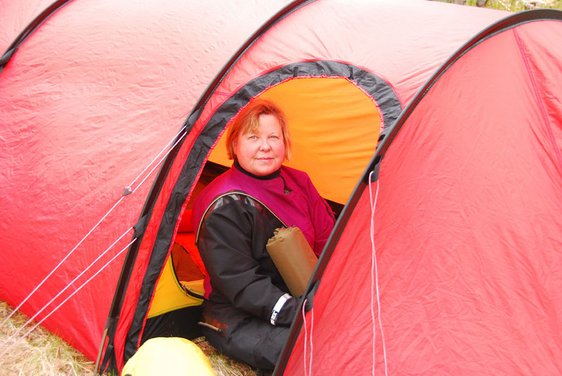 Here is Ann in a Hilleberg tent, which we used for sleeping.  It rained for the first 6 days of our trip, which is typical here.  There is a reason why the Swedes make the best tents (Hilleberg) and the Norwegians the best rain gear (Helle-Hansen).