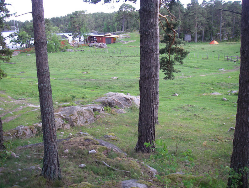 One evening we camped on the island of Håskö.  Our tent is at the upper right.  The family who lives here is still farming, raising a few cows, fishing, running a small sawmill, and selling ice cream to passing kayakers.