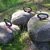 These are rock fishing net weights or anchors, about a cubic foot each.