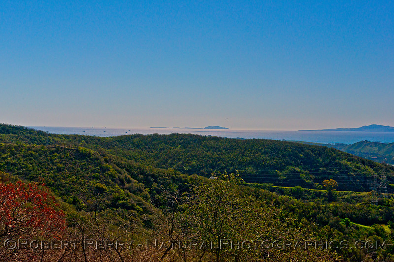 From left to right: offshore oil platforms, Anacapa Island, eastern end of Santa Cruz Island - Santa Barbara Channel