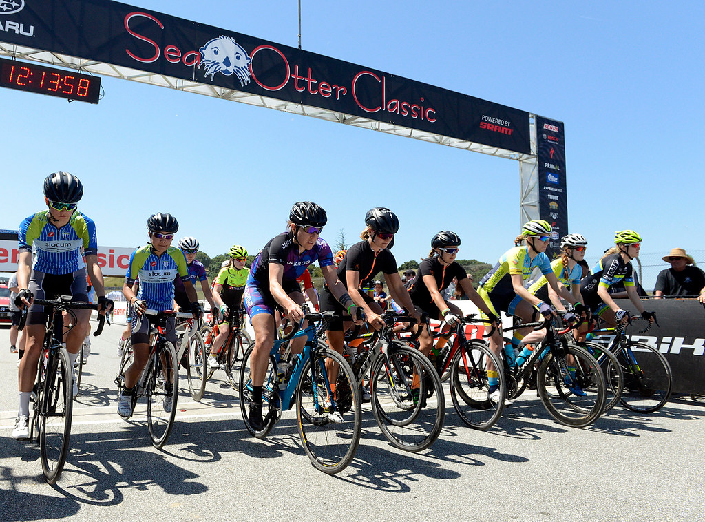 . The Pro Women\'s Road race starts during the Sea Otter Classic Cycling Festival at Laguna Seca Raceway in Monterey on Friday April 21, 2017. (David Royal - Monterey Herald)