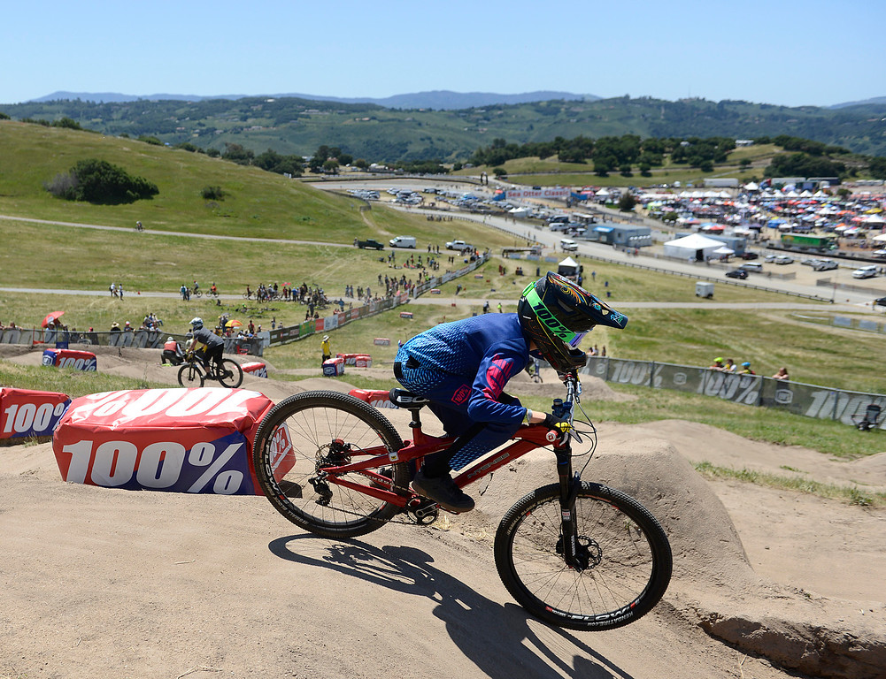 . Junior Dual Slalom racers roll down the course during practice rounds at the Sea Otter Classic Cycling Festival at Laguna Seca Raceway in Monterey on Friday April 21, 2017. (David Royal - Monterey Herald)