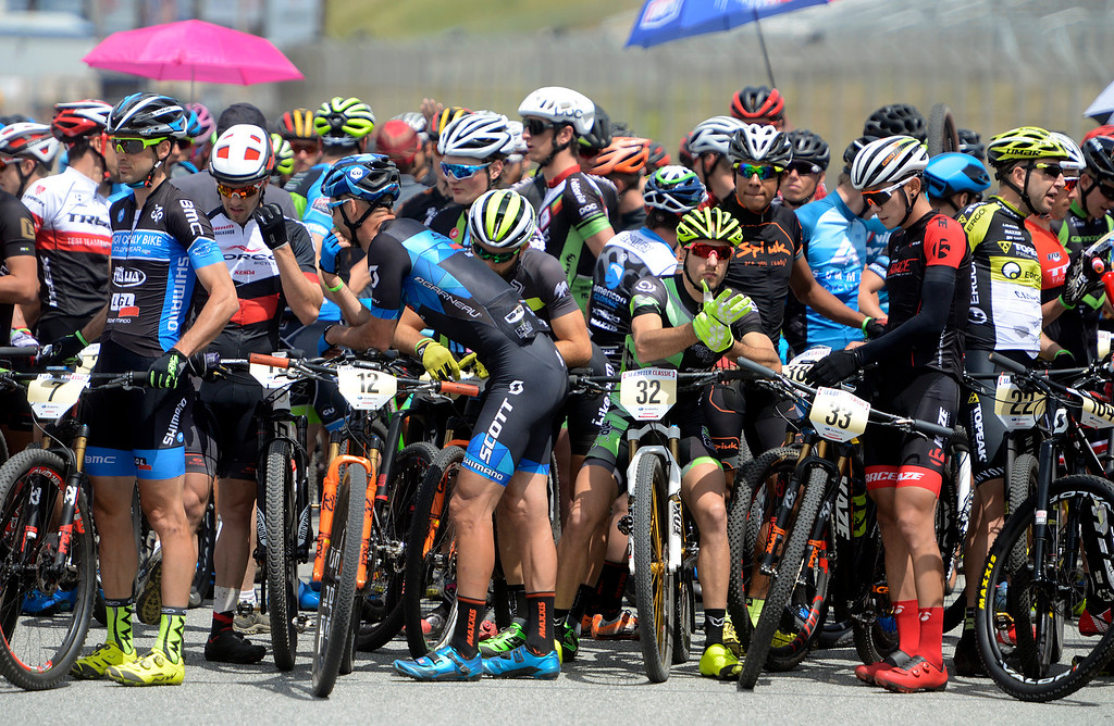 . Riders ready themselves before the start of the Men\'s Cross Country Race during the Sea Otter Classic Cycling Festival at Laguna Seca Raceway in Monterey on Saturday April 22, 2017. (David Royal - Monterey Herald)