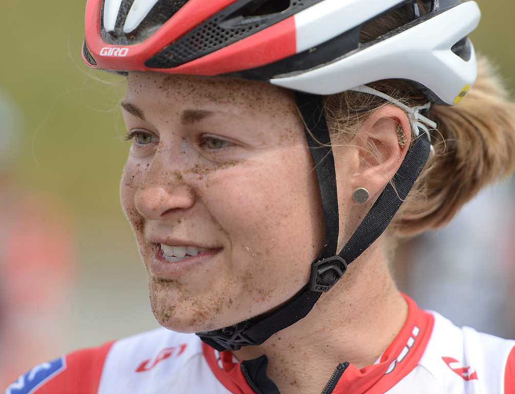 . Rochet Maghalie of Quebec Canada has sand on her face after taking a spill on her way to a second place finish during the Pro Cyclocross Race during the during the Sea Otter Classic Cycling Festival at Laguna Seca Raceway in Monterey on Saturday April 22, 2017. (David Royal - Monterey Herald)