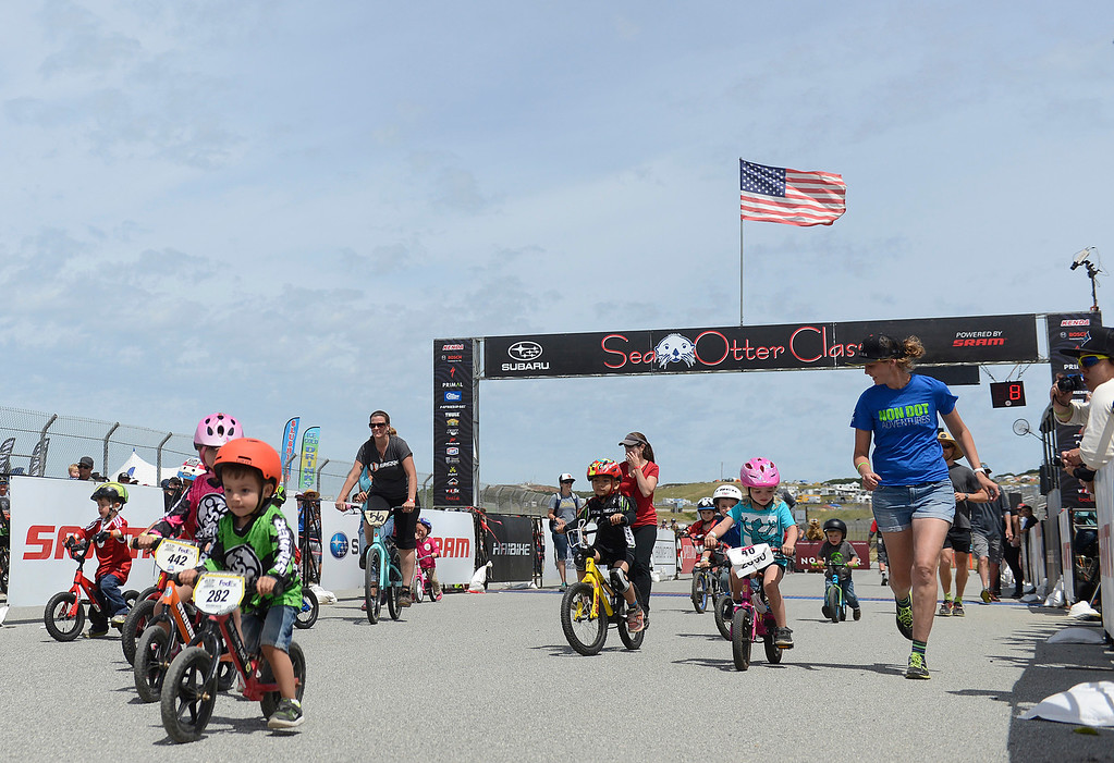 . Young riders compete in the four and under kids race during the Sea Otter Classic Cycling Festival at Laguna Seca Raceway in Monterey on Saturday April 22, 2017. (David Royal - Monterey Herald)