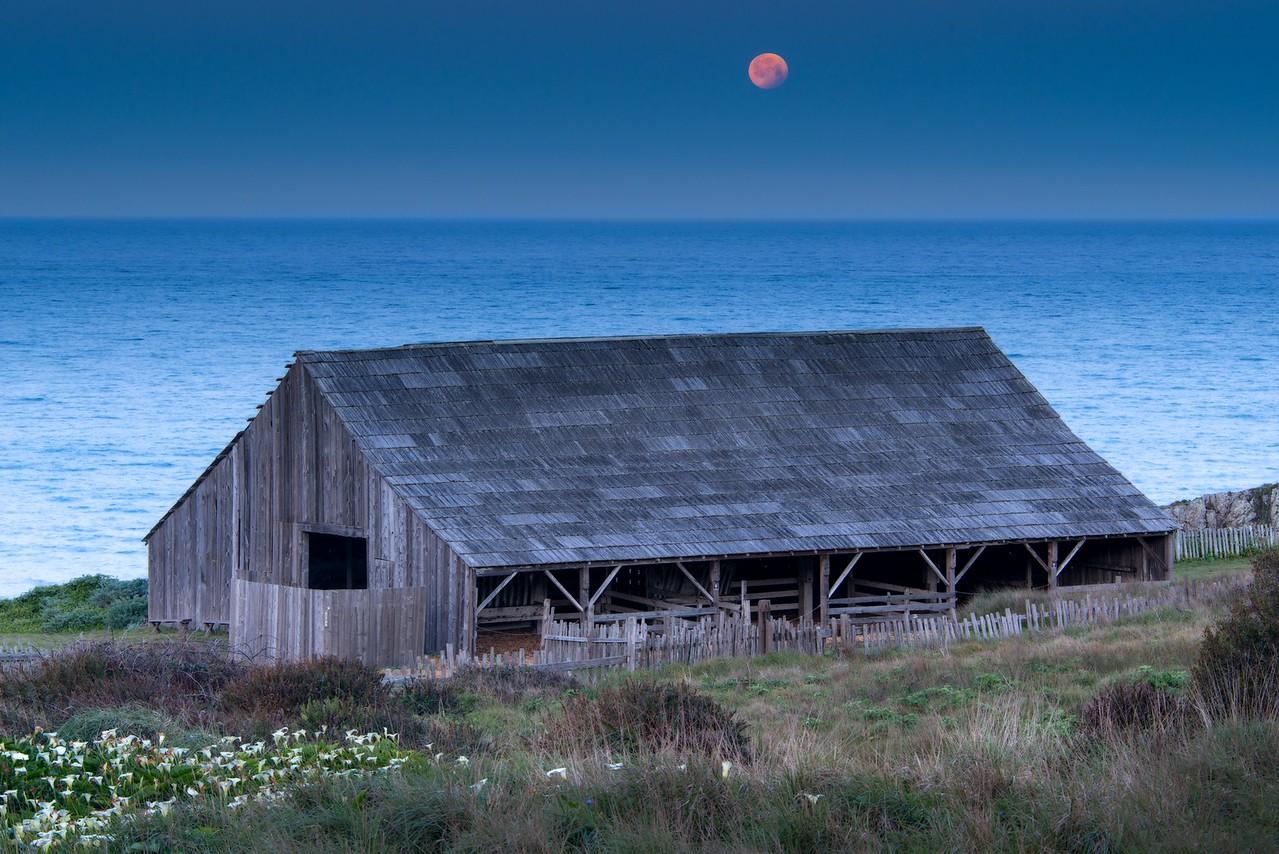 Blue Barn & Eclipsed Moon, Sea Ranch, California