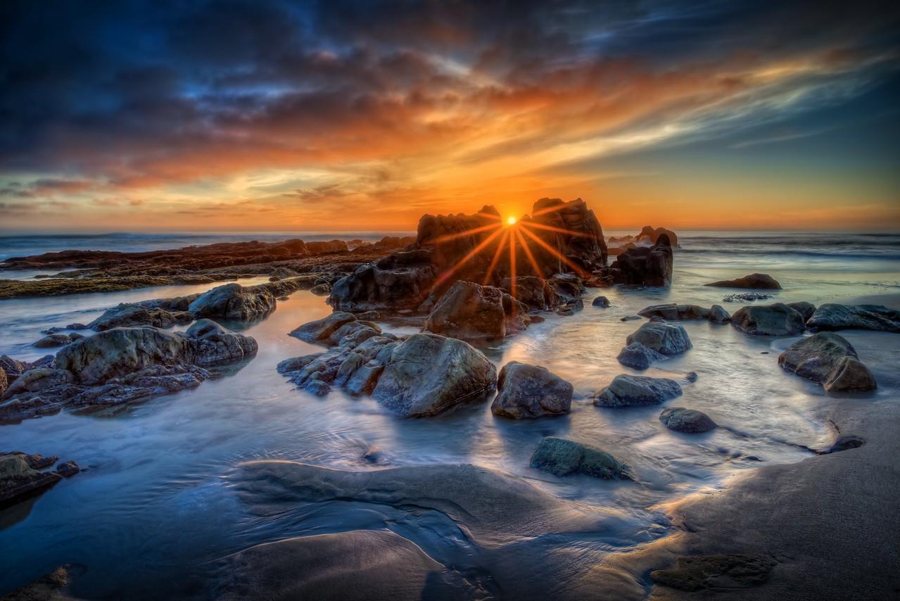 Setting Sun, Walk on Beach, Sea Ranch, California