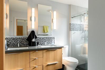 Double Vanity bathroom adjoining the second bedroom.