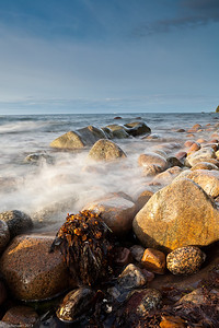 Boulders and beach at Ruegen Island, Baltic sea, NE Germany