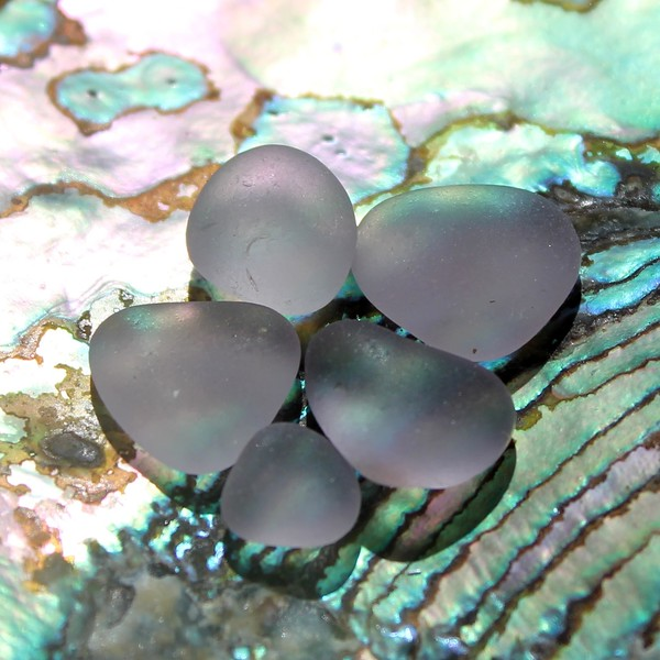 Lavender Sea Glass on Abalone Shell