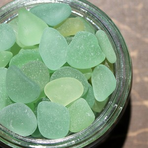 Pastel Green Sea Glass in a Jar