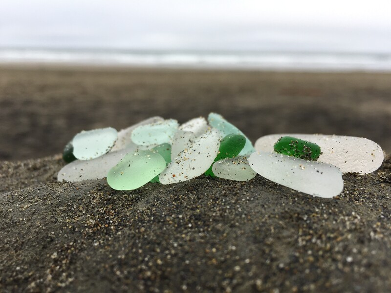 Sandy Sea Glass Just Found on the Beach