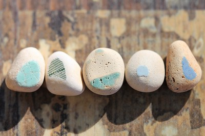 Vintage Sea Pottery Pieces with Bits of Color
