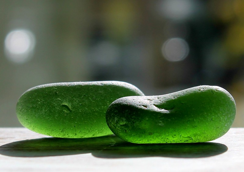 Frosted Green Sea Glass Pair