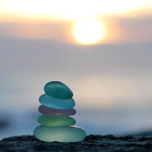 Monterey Bay Sun Set Sea Glass Stack