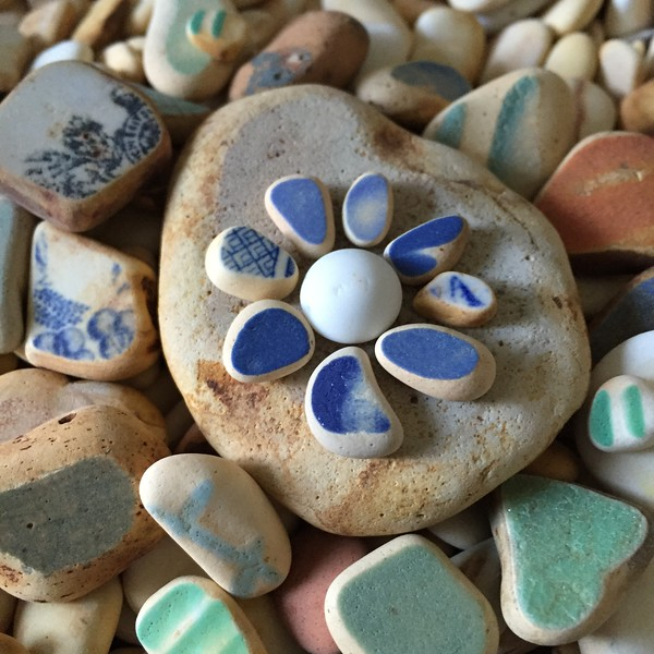 Vintage Sea Beach Pottery Finds Shaped into a Flower