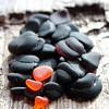2016.53 Black Amethyst and Orange Sea Glass