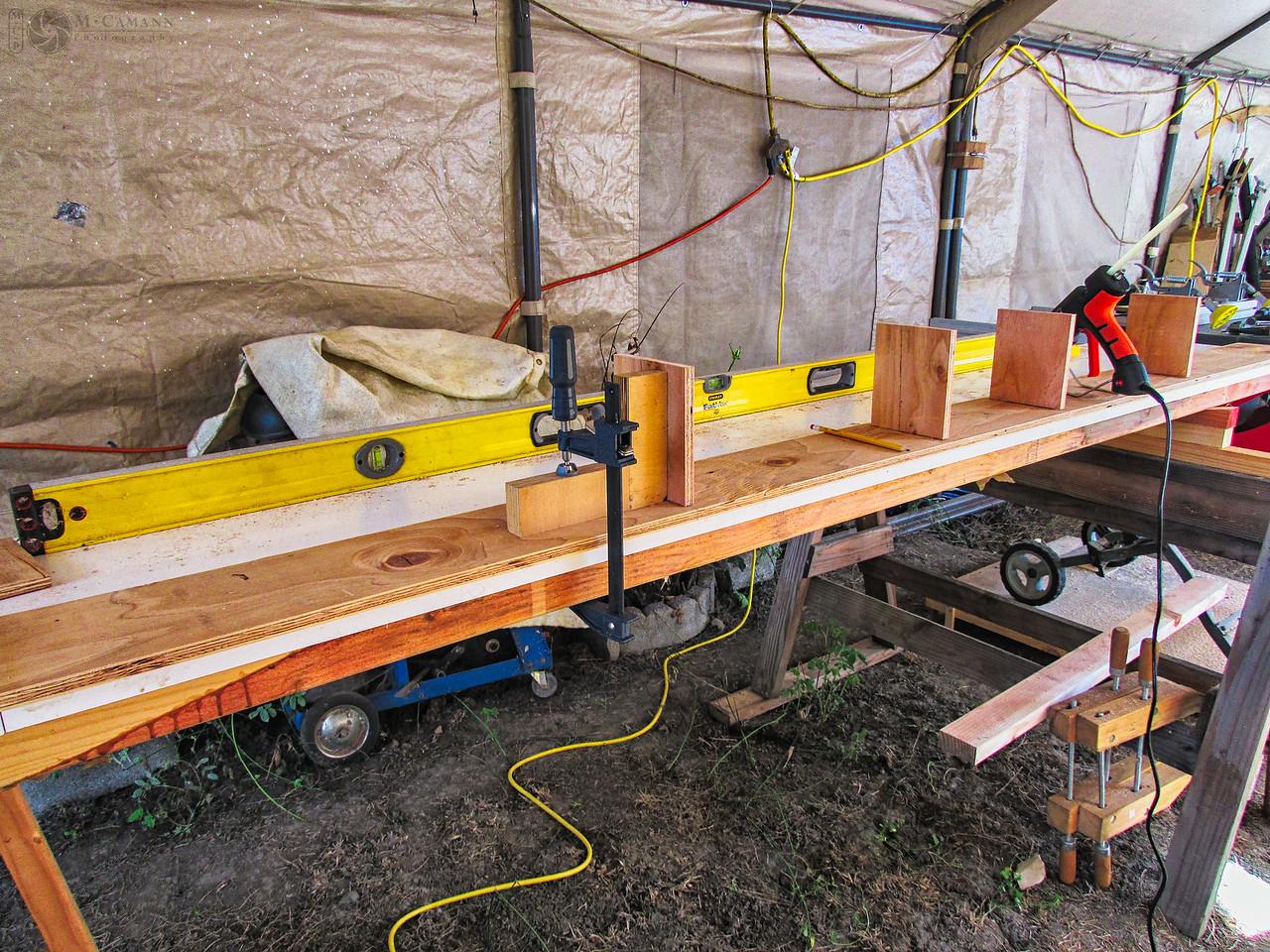 Beginning to build the box beam strongbacks.