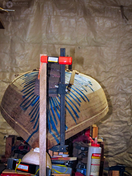 September 26, 2015.  Gluing down the keel srtip on the Twin Star bow.