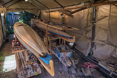 10 July 2018.  The Twinstar baidarka deck is mostly closed and sanded to 80 grit.  Still some work to do at the bow and stern.