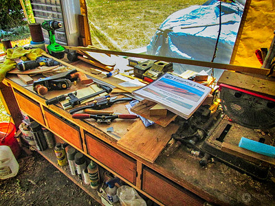 Tools on the bench.  July 22, 2015.