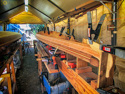 September 6, 2015.  Continuing to strip the North Star hull.  This was the final strip of western red cedar, before I began to strip the bottom with Alaska yellow cedar.