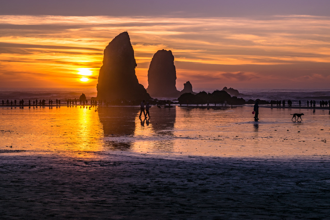 Cannon Beach Sunset Admirers