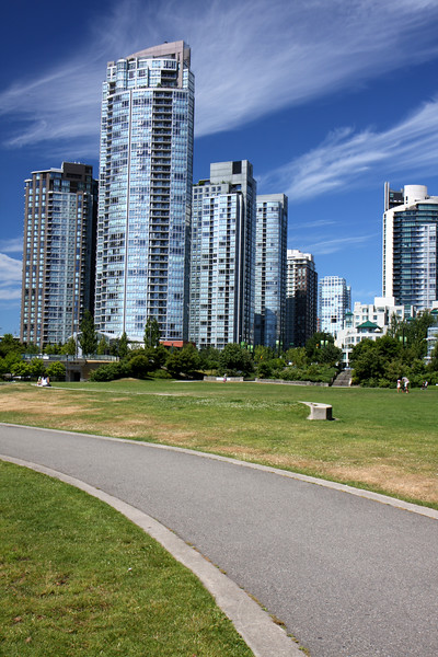Here's a shot of our new neighborhood in downtown Vancouver. The actual neighborhood is called Yaletown. It's full of parks and great restaurants and is located right along the waters of False Creek. We're ecstatic to be living here and experiencing the urban adventures that contrast so sharply from our Squamish adventures.