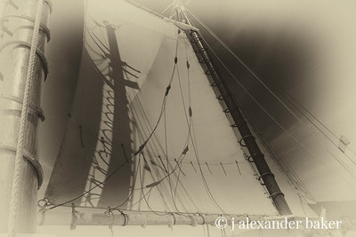 Main Mast shadow play on foresail, schooner Mercantile