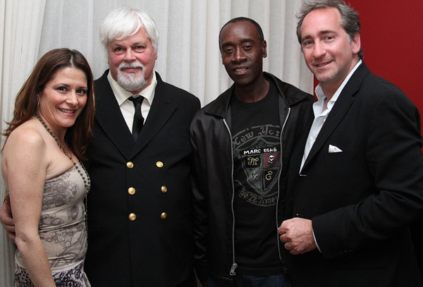 "Nicole Landers, Captain Paul Watson, actor Don Cheadle & Bradford Rand. Go Green Expo Presents ""A Toast to Captain Paul Watson"" held at the GREEN+VINE at the Residences at W Hollywood in West Hollywood, CA on April 14, 2011. Event hosted by Nicole Landers and Bradford Rand.  Photos by Erin Suggett for Sea Shepherd. © Erin Suggett Photography 2011. All Rights Reserved."
