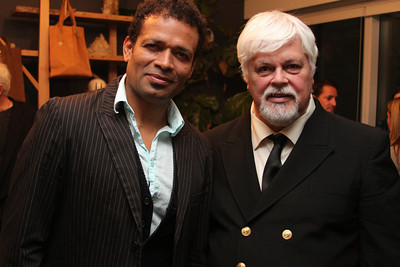 "Actor Mario Van Peebles and Captain Paul Watson. Go Green Expo Presents ""A Toast to Captain Paul Watson"" held at the GREEN+VINE at the Residences at W Hollywood in West Hollywood, CA on April 14, 2011. Event hosted by Nicole Landers and Bradford Rand.  Photos by Erin Suggett for Sea Shepherd. © Erin Suggett Photography 2011. All Rights Reserved."