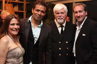 "Nicole Landers, Mario Van Peebles, Cpt. Paul Watson & Bradford Rand. Go Green Expo Presents ""A Toast to Captain Paul Watson"" held at the GREEN+VINE at the Residences at W Hollywood in West Hollywood, CA on April 14, 2011. Event hosted by Nicole Landers and Bradford Rand.  Photos by Erin Suggett for Sea Shepherd. © Erin Suggett Photography 2011. All Rights Reserved."