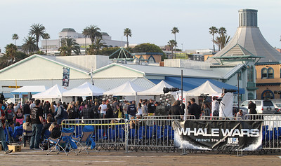 "The crowd continues to build at the Santa Monica Pier.  Animal Planet's Whale Wars Season 4 Premier: ""Operation No Compromise"" Antarctic Campaign. Hosted by Animal Planet, L.A. Times & Brand X at the Santa Monica Pier in Santa Monica, CA. Photography by Erin Suggett for Sea Shepherd. June 3, 2011 All Rights Reserved."
