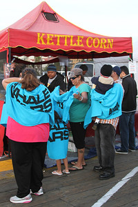 "Supporters stock up on Kettle Corn before the show.  Animal Planet's Whale Wars Season 4 Premier: ""Operation No Compromise"" Antarctic Campaign. Hosted by Animal Planet, L.A. Times & Brand X at the Santa Monica Pier in Santa Monica, CA. Photography by Erin Suggett for Sea Shepherd. June 3, 2011 All Rights Reserved."