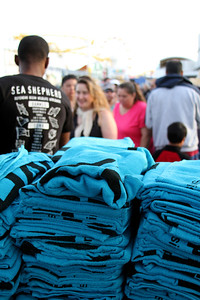 "The never-ending FREE towel line.  Animal Planet's Whale Wars Season 4 Premier: ""Operation No Compromise"" Antarctic Campaign. Hosted by Animal Planet, L.A. Times & Brand X at the Santa Monica Pier in Santa Monica, CA. Photography by Erin Suggett for Sea Shepherd. June 3, 2011 All Rights Reserved."
