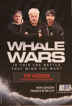 """VIP Access Laminates.  Animal Planet's Whale Wars Season 4 Premier: """"Operation No Compromise"""" Antarctic Campaign. Hosted by Animal Planet, L.A. Times & Brand X at the Santa Monica Pier in Santa Monica, CA. Photography by Erin Suggett for Sea Shepherd. June 3, 2011 All Rights Reserved."""