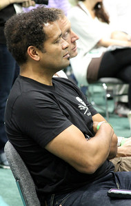 Actor Mario Van Peebles listens to Captain Paul Watson speak. Captain Paul Watson speaks at the Go Green Expo in Los Angeles, CA on April 16, 2011 - L.A. Convention Center.  Photos by Erin Suggett for Sea Shepherd.  © Erin Suggett Photography 2011.  All Rights Reserved.