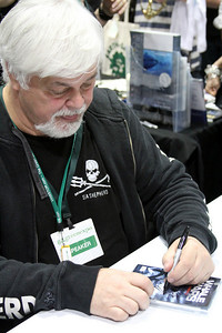 Captain Paul Watson during book signing at the Sea Shepherd booth. Captain Paul Watson speaks at the Go Green Expo in Los Angeles, CA on April 16, 2011 - L.A. Convention Center.  Photos by Erin Suggett for Sea Shepherd.  © Erin Suggett Photography 2011.  All Rights Reserved.