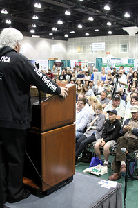 Captain Paul Watson addresses a standing room only crowd. Captain Paul Watson speaks at the Go Green Expo in Los Angeles, CA on April 16, 2011 - L.A. Convention Center.  Photos by Erin Suggett for Sea Shepherd.  © Erin Suggett Photography 2011.  All Rights Reserved.