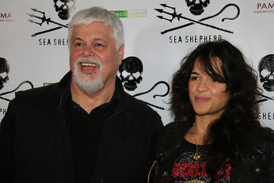 "Caption Paul Watson and actress Michelle Rodriguez arrive on the red carpet.  Sea Shepherd launch party for the ""Operation No Compromise"" Antarctic Whale Defense Campaign and the Gojira Interceptor Vessel unveiling in Los Angeles, CA. on October 23, 2010"
