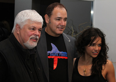 "Captain Paul Watson, the Crystal Method's Ken Jordan and actress Michelle Rodriguez.  Sea Shepherd launch party for the ""Operation No Compromise"" Antarctic Whale Defense Campaign and the Gojira Interceptor Vessel unveiling in Los Angeles, CA. on October 23, 2010"