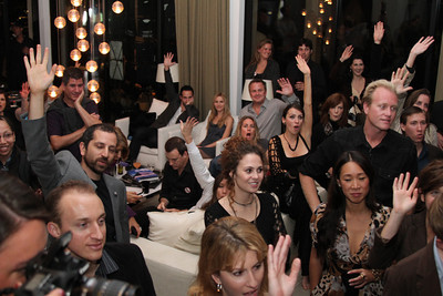 "The crowd partakes in the charity auction.  Sea Shepherd launch party for the ""Operation No Compromise"" Antarctic Whale Defense Campaign and the Gojira Interceptor Vessel unveiling in Los Angeles, CA. on October 23, 2010"