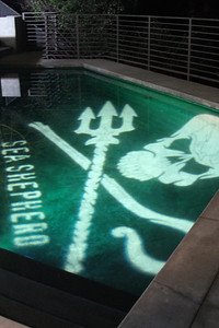 "The Sea Shepherd Light Hologram shines in the pool.  Sea Shepherd launch party for the ""Operation No Compromise"" Antarctic Whale Defense Campaign and the Gojira Interceptor Vessel unveiling in Los Angeles, CA. on October 23, 2010"