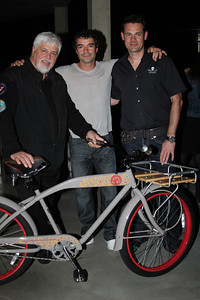 "Captain Paul Watson and SSCS CEO Steve Roest pose with an auction winner.  Sea Shepherd launch party for the ""Operation No Compromise"" Antarctic Whale Defense Campaign and the Gojira Interceptor Vessel unveiling in Los Angeles, CA. on October 23, 2010"