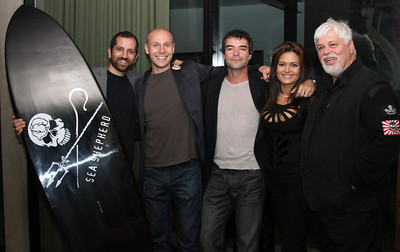 "Captain Paul Watson poses with auction winners.  Sea Shepherd launch party for the ""Operation No Compromise"" Antarctic Whale Defense Campaign and the Gojira Interceptor Vessel unveiling in Los Angeles, CA. on October 23, 2010"