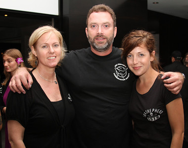 "Sea Shepherd Employees: Development Director Carla Robinson, Deputy CEO Chuck Swift and Media Manager Katia Carter pose for a photo.  Sea Shepherd launch party for the ""Operation No Compromise"" Antarctic Whale Defense Campaign and the Gojira Interceptor Vessel unveiling in Los Angeles, CA. on October 23, 2010"