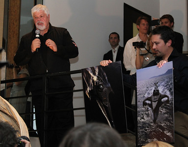 "Captain Paul Watson, SSCS CEO Steve Roest and Laurens de Groot unveil the Gojira interceptor vessel.  Sea Shepherd launch party for the ""Operation No Compromise"" Antarctic Whale Defense Campaign and the Gojira Interceptor Vessel unveiling in Los Angeles, CA. on October 23, 2010"