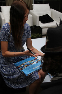 "Actress Isabel Lucas and Lincoln O'Barry sign copies of ""Sea Voices"".  Sea Shepherd launch party for the ""Operation No Compromise"" Antarctic Whale Defense Campaign and the Gojira Interceptor Vessel unveiling in Los Angeles, CA. on October 23, 2010"